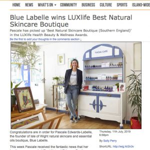 We've won Best Natural Skincare Boutique! LUXlife awards